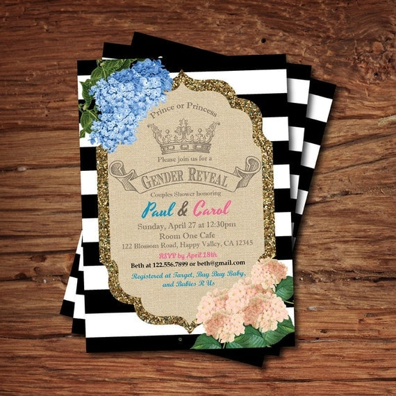 Gender Reveal Baby Shower Invitation. Royal Crown Coed Baby