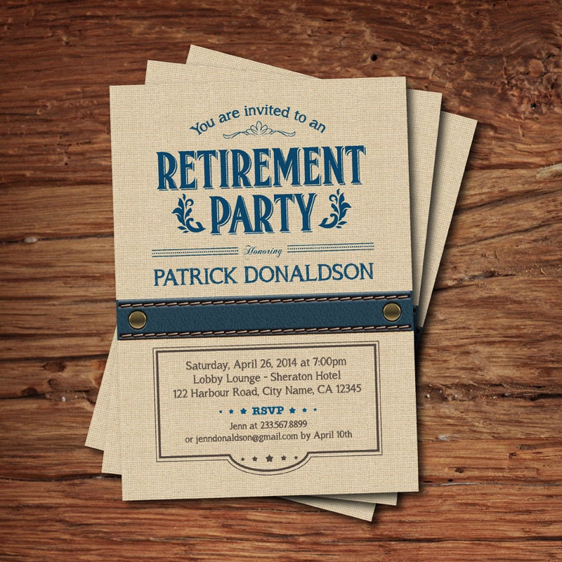Retirement Party Invitation. Vintage Rustic Navy Blue Burlap