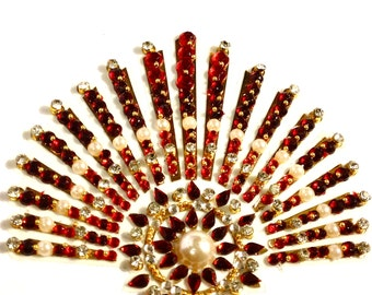 Large Self Adhesive Temporary Bindi Body Tattoo Tattoos Tikka Faux Pearls Gold Maroon Red Clear Embellished Rhinestones