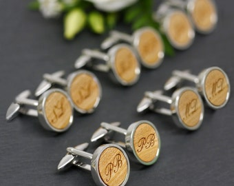 Groomsmen Cufflinks, Best Groomsmen Gifts, Initial Cufflinks, Personalized Wedding Cufflinks, Set Of 5 Personalized Groomsmen Cufflinks
