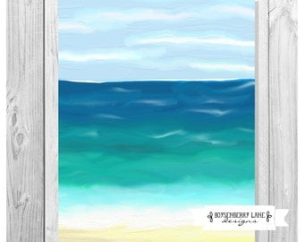 By The Sea - Hand Painted Art Painting Ocean Beach Waves Instant Download Print