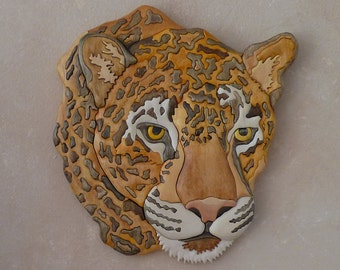 Wooden Leopard, Carved Wall Hanging
