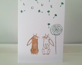 Wedding Congratulations Card: Rabbits, Wishing For Love under a Dandelion Seed Cloud.