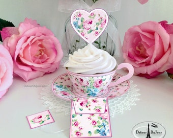Printable Tea Cup, Tea Party Cupcake Wrappers, Pink Shabby Chic Cupcake Wrappers, Holders, Sleeves SC- 001P