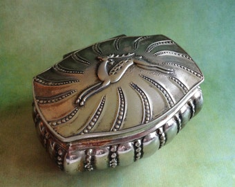 Vintage small footed trinket or jewelry box made in Japan