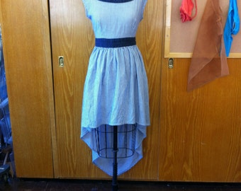 Adorable pinstripe high-low summer dress with back tie