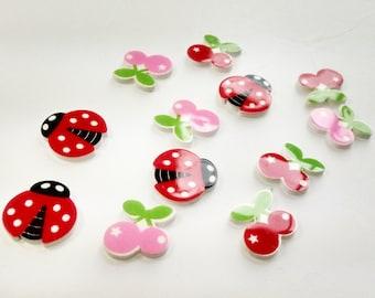Glue on Cabochons Cute Cherry Flatbacks Red Ladybug Resins 0107