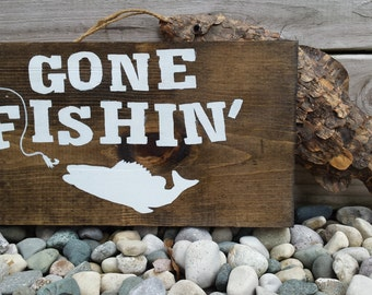 Free beer tomorrow sign hanging wooden beer sign rustic for Gone fishing sign