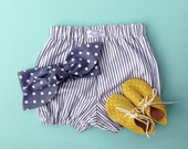 Blue Grey Stripes Cotton Bloomers