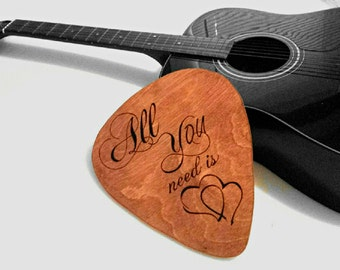 Guitar Pick Wall Decor - Custom engraved handmade wood guitar pick 11 inches x 9 1/2 inches