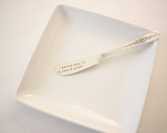 spread love, butter knife, stamped silverware, jelly spreader, waldorf teacher, stamped knife, housewarming gift, wedding gift