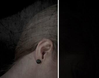 Black post earrings, Black silver post earrings, Organic black post earrings, Oxidized silver black post earrings