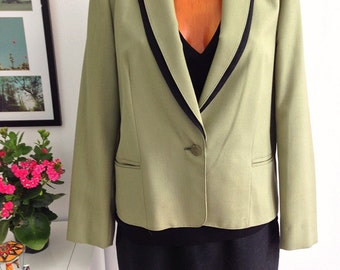 Vintage 80s Jacket Green and Black of a button and Shawl Collar. Size 48