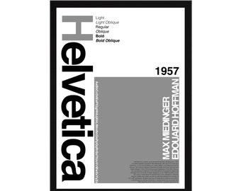 Helvetica Type Face A3 Poster: 297mmx420mm Swiss, Graphic Design, Typography, Type, Font, Graphics, Switzerland, Print, Poster, Grey, Black
