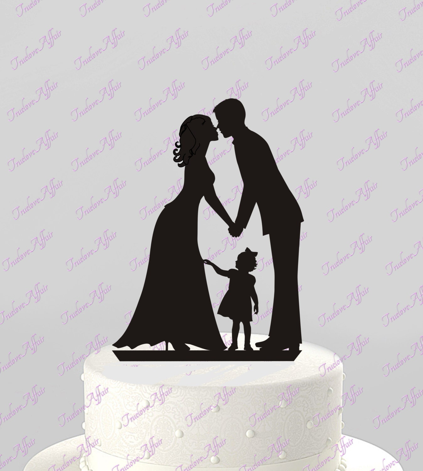 Wedding Cake Topper Silhouette Groom And Bride With Little