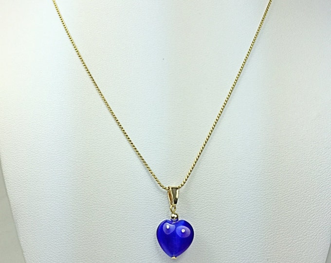 Blue Heart Necklace, 14k Gold Plated Necklace, Blue Necklace, Gold Necklace, Handmade Necklace, Unique Necklace, Heart Necklace, shinny blue