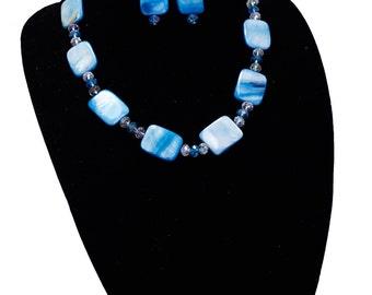 Blue Nacar Necklace with Swarovski Crystals