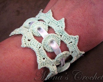 Hand Crocheted Victorian-Inspired Lace Bracelet - Mint Green