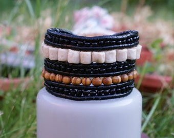 Stone and Leather Wrap bracelet