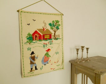 Vintage wall embroidery Spring Cross stitch wall hanging Embroidered wall hanging Scandinavian needlework