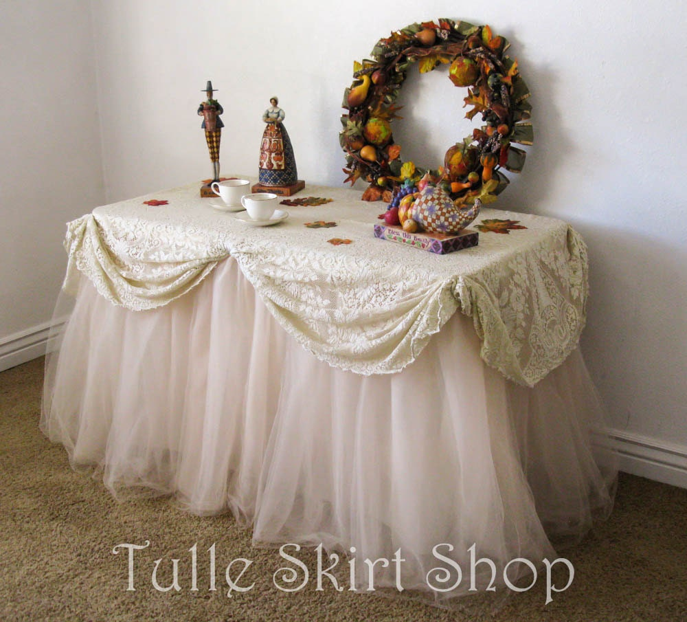 Champagne Tulle Table Skirt Beige Tutu Tableskirt For