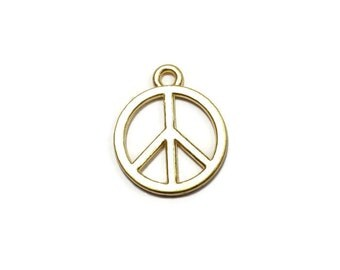 3 Pieces Hippie Peace Symbol Charms, 24K Peace Sign Mini Pendants - CMISCG007