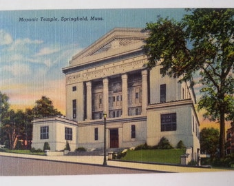 Vintage Postcard of Masonic Temple, Springfield, Mass
