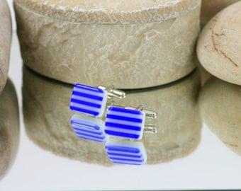 Fused Glass Cuff Links - Cobalt Blue Striped Glass Cuff Links - Glass Jewellery For Men.  JBT162