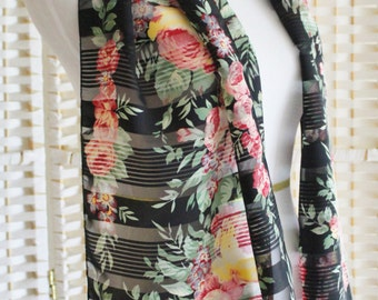"""Vintage 70's 80's Black Sheer CABBAGE Rose Floral Neck Head Scarf LONG 15"""" x 68"""" Made in ITALY Fedrico Porta"""