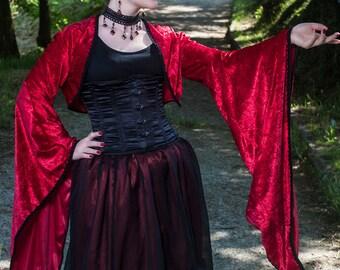 Medieval/gothic/fantasy/elven bolero in panné velvet with black trim - Goth fantasy handmade larp wiccan bridal victorian steampunk shrug