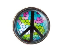 Aww Snap! Stained Glass Peace Sign Interchangeable snap for 18mm Aww Snap bracelets, necklaces and hair accessories. Noosa, chunks, poppers