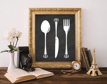 Spoon Knife Fork Print 5x7 8x10 Instant Download Kitchen Utensil Art Print Kitchen Decor Wall Art Kitchen Tools Print Chalkboard Printable