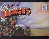 Vintage, Unused 1943 Postcard Souvenir Booklet - Land of Oranges, San Bernardino, Ca. (including period cars/train)
