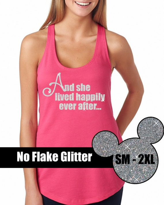 Items similar to glitter she lived happily ever after tank for Disney happily ever after shirt