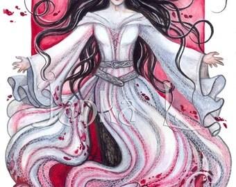 Original illustration - Con Dar, original painting blood rage magic signed art red