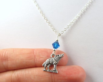 Wolf Necklace- choose a color, Wolf Jewelry, Wolf Charm, Wolf Gift, Coyote Jewelry, Wolf Howling, Silver Wolf Necklace, Silver Wolf Jewelry