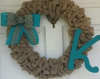 Burlap Wreath, Monogram Wreath, Initial Wreath, Chevron, Year round wreath, gift for women