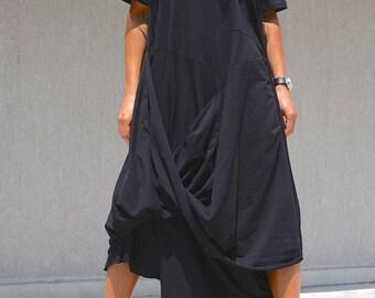 Extravagant black dress, summer loose dress, plus size asymmetric dress, Gothic clothing, fashion design dress for plus size women