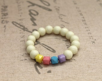 Geometric Shape and Pastel Color Beaded Bracelet, Beaded Bracelet, Geometry Style