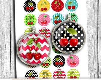 "Printable Circles ""Cherries"" 1.5"" 30mm 25mm 1"" Bottle cap images Cabochon images Digital Collage Sheet - Instant Download"