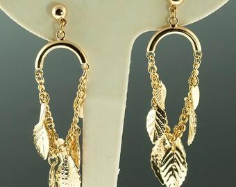 Gold Plated Leaf Drop Earrings
