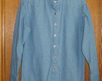 Ladies' 8-10 Demin Shirt, Handmade and No Raw Seams, FREE SHIPPING