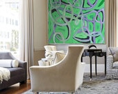 Hand Made Large Acrylic Painting On Canvas, Abstract Painting Canvas Art. Large Wall Art Canvas, Green Purple Grey Black.
