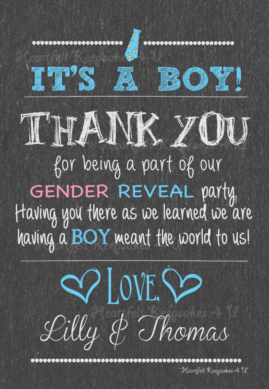 gender baby reveal chalkboard thank you card note personalized