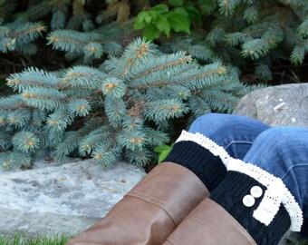 Sale! Lace Boot Cuffs, Black Boot Cuffs, Cabled Boot Cuffs, Knitted Boot Cuffs, Boot Toppers, Lacy Boot Cuffs, Button Boot Cuffs