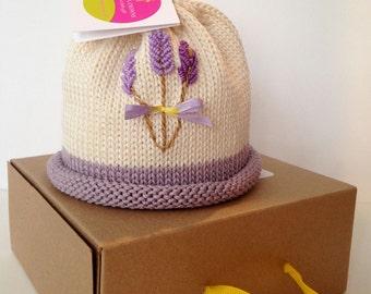 Lavender Flowers Newborn Baby Hat