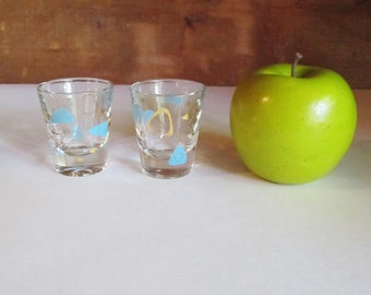 Federal Glass Atomic Boomerang Amoeba Shot Glasses Set of Two Mid-century Modern Turquoise and Gold