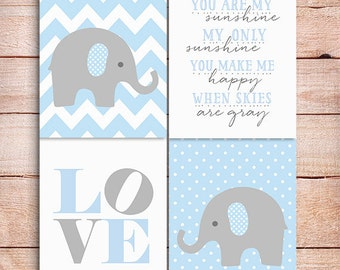 50% Off SALE Baby boy Nursery decor, Elephant Nursery art, You are my sunshine, polka dots Nursery Elephant decor, PRINTABLE art