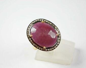 Ravishing Ruby Ring with Sparkling White Topaz SF-1491