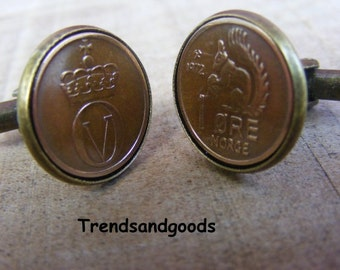 Cufflinks Antik Bronze 1 Öre Coin Squirrel Norway Norge 1972 Manschettenknöpfe Norwegen 1 Öre 1972 MK089